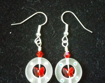Red butterfly circle earrings