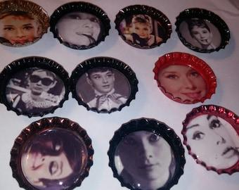 10 Audrey Hepburn bottle cap magnets refrigerator