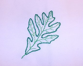 Set of 4 dinner napkins   Hand embroidered   Oak, Maple, Aspen, and Ginkgo Leaf   Shades of green