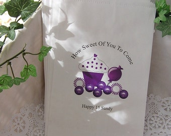 Personalized Candy Bags - Birthday Party Favor Bags - Goodie Bags - Purple (Set of 10) BUFFETP-07