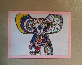 Boho Hipster Elephant- 12x9 inch, watercolor painting, wall decor