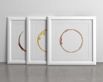 Coffee Stains - 3 Prints. Kitchen Art Print, Wall Decor, Printable Instant Download, Coffee bean, Tea Stain.