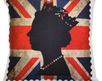 Queens Head Stamp Cushion. 35x35 CM.  High Quality UK Made Unique Brit  Inspired Cushions From The True Brit Collection.