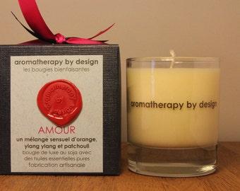 Handpoured luxury soy wax aromatherapy candle 150g/30h. Bougie fait a la main avec cire de soja et les huiles essentielles pures 150g/30h.