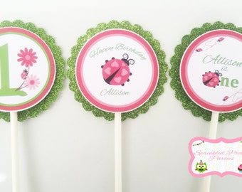 PINK Ladybug Birthday party. Pink ladybug cupcake toppers. Pink Ladybug FIRST Birthday. Ladybug Party Decorations. Pink and Green Ladybug