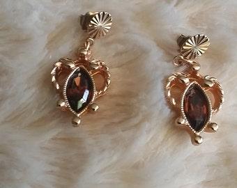 rhinestone Brown Topaz gold tone vintage earrings 1970's