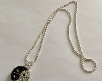 Yin yang silver pendant necklace