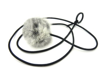 Bouncy Ball Real Rabbit Fur String Cat Toy