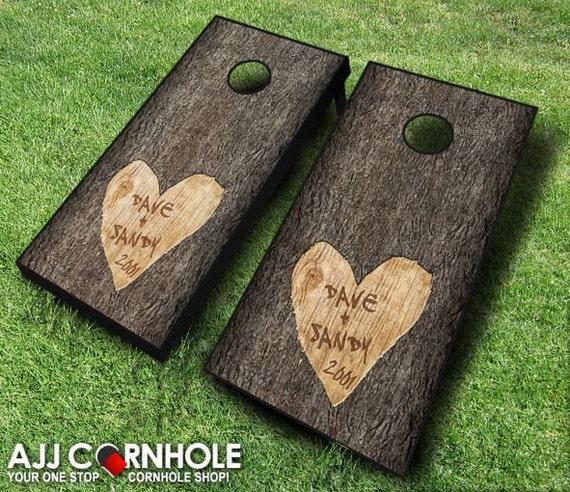 Custom Tree Carved Wedding Cornhole Set By EverythingCornhole