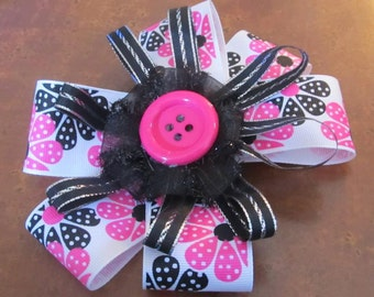 Hot pink button center loopy hairbow