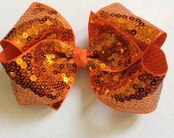 Orange Sparkle Hair Bow