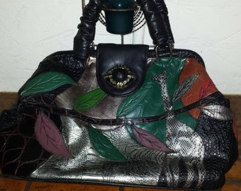 Vintage black and multicolored leather  handbag/clutch