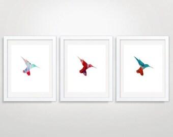 Triptych Hummingbird Art Print Printable Art Digital Wall Art Nursery Decor Instant Download set of Three