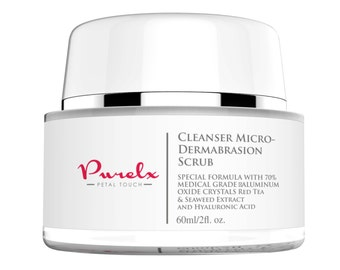 Cleanser Micro-Dermabrasion Scrub - Powerful Exfoliator with Red Tea & Seaweed Extract plus Hyaluronic Acid