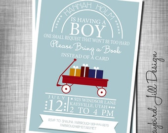 Book Theme Baby Shower Invitation, Baby Boy Shower Invite