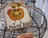Fresh Eggs Basket Tag, Rustic Hang Tag, Chicken Decor, Chicken Signs, Country Kitchen Ideas, Farmhouse Chic