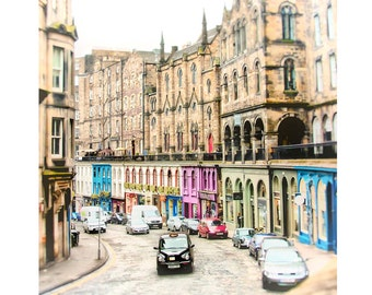 "Edinburgh Photography, Scotland Photography, Architecture, Historic City, British Cab, Fine Art Photography, ""Victoria Street Cab, Bleached"""
