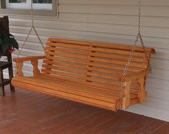5 Foot Amish Heavy Duty 700 lb Roll Back Treated Porch Swing