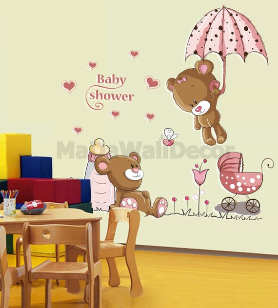 Pink Teddy Bear Baby Shower: Pink Teddy Bear Baby Shower Nursery Peel And Stick Vinyl Wall