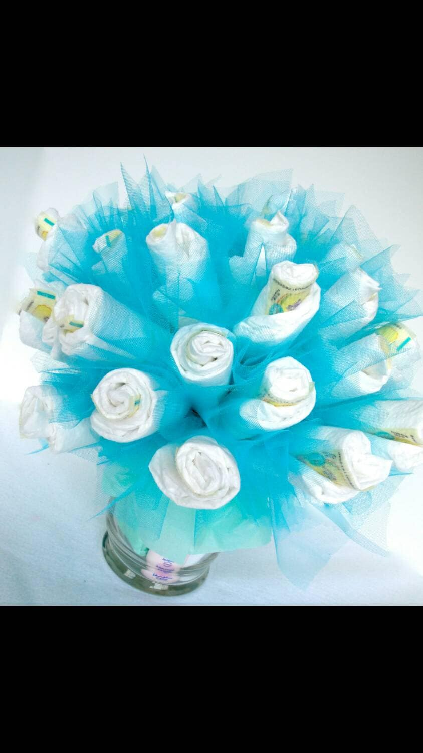 Diaper bouquet pink or blue glamorous boy or girl baby shower for Pink diaper bouquet