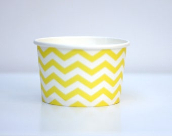 Ice Cream Cups Yellow Chevron Pack of 10 Party Decor