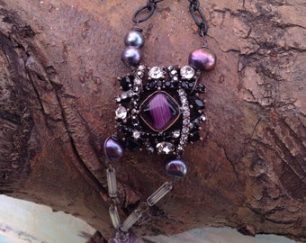 Assemblage bracelet, purples and black