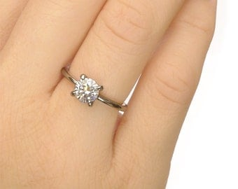 Moissanite Engagement Ring - 18k White or Yellow Gold - Eco Friendly - Handmade to Size