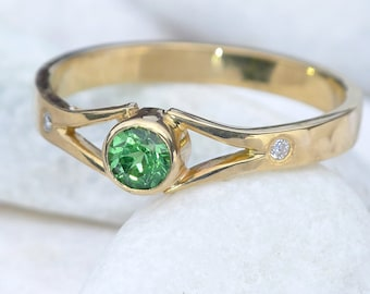 Tsavorite Engagement Ring with Diamonds | Eco Friendly 18k Yellow Gold | Handmade to Size in the UK
