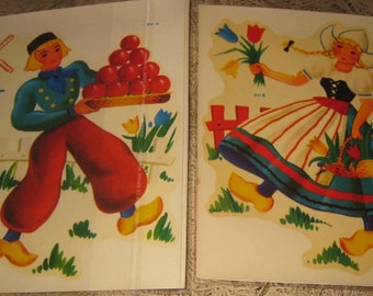 Vintage Dutch Boy & Girl Watersslide Decals