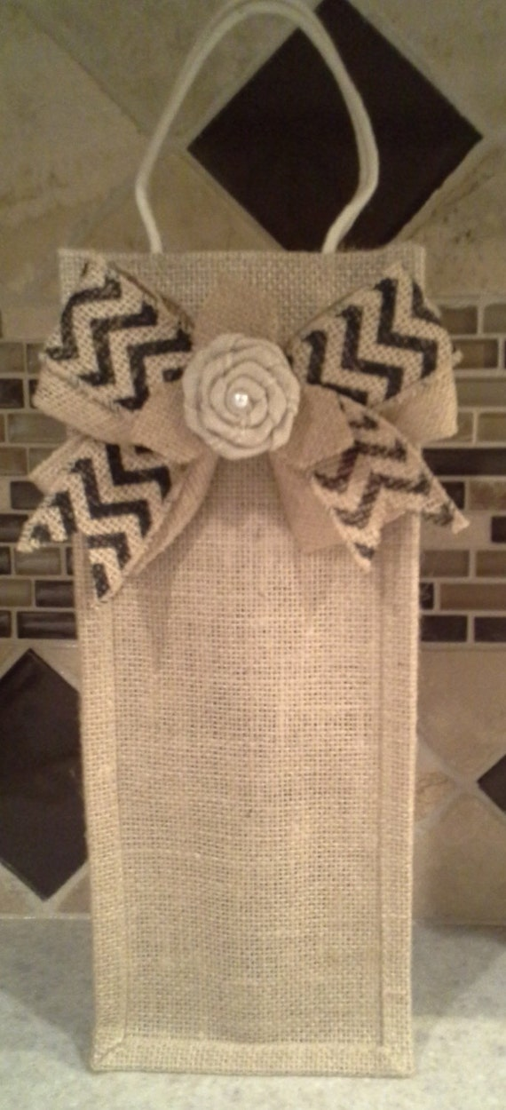 Burlap wine bag with decorative chevron bow by dskdesign for Decorative burlap bags