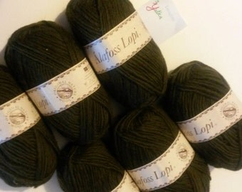 Dark olive Alofoss Lopi Pure Wool Yarn 100g