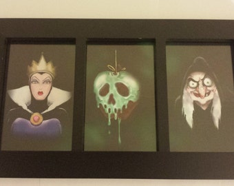 Disney SNOW WHITE Evil Queen, Witch and Poison Apple Framed Fan Art Print