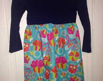 Girls size 6/7 upcycled T-shirt dress.