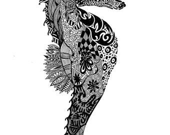 Zentangle Seahorse Print