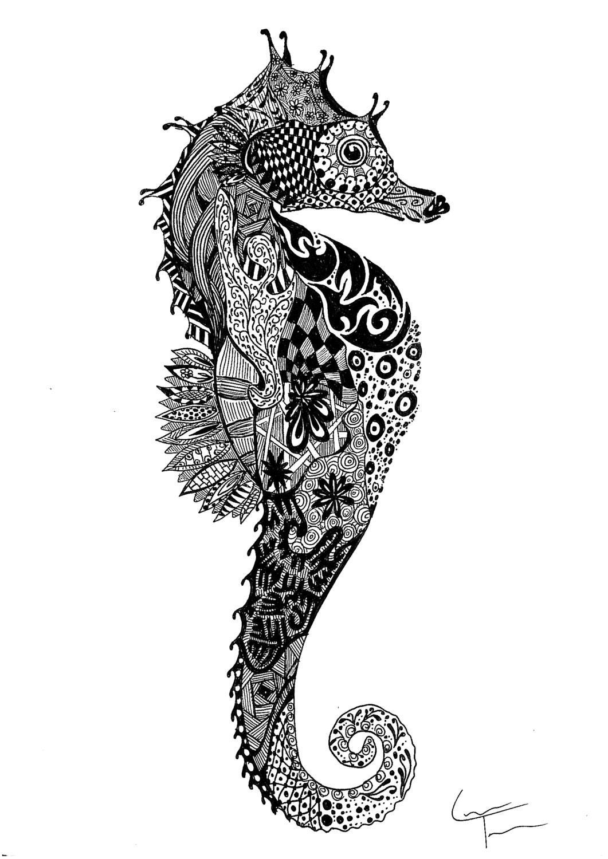 Zentangle seahorse print for Cavalluccio marino maori