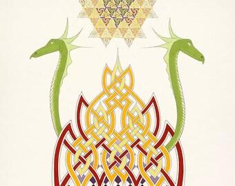 ILLUMINATION. Original Celtic Art and Design print incorporating dragons, fire and a visionary mandala.