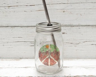 PEACE PINK Mason Jar Cup To Go  - Eco Friendly, Reusable, with Stainless Steel Straw & Unique Design
