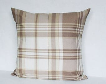 Plaid Pillow Cover, Throw Pillow 16x16 inch, Decorative Pillow, Cotton Sham, Beige White Squared, Handmade Cottage Cushion