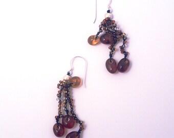 Brown Glass Bead Cluster Earrings
