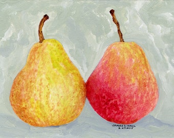 Pears Painting, Fruit Painting, Kitchen Art, Small Format Art, Acrylic Painting