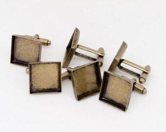 10x Antique Bronze 16mm Square Cufflink Setting Blanks