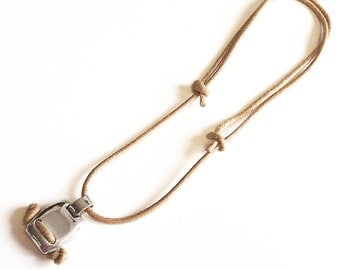 Hand made necklace. Silver and leather. Young line