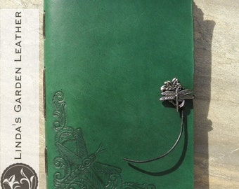 Handmade Leather Dragonfly Journal or Sketchbook
