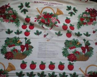 Bountiful Christmas Applique Panel -  VIP CRANSTON - 1 yard each