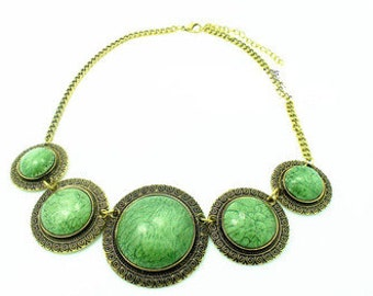 Boho Green Gem Necklace