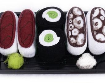 Sushi Socks Box 3 pairs Tuna Octopus Brown Cucumber Maki Cool Gift Present Gadget