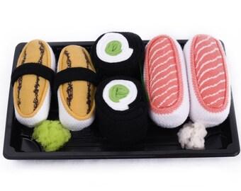 Sushi Socks Box 3 pairs Tamago Salmon Cucumber Maki Cool Gift Present Gadget