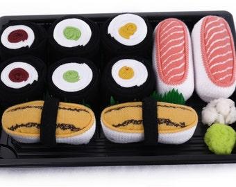 Sushi Socks Box 5 pairs Salmon Tamago Cucumber Maki Oshinko Maki Tuna Maki Cool Gift Present Gadget