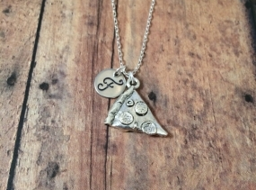 Pizza initial necklace - silver pizza charm, pizza necklace, hand stamped necklace, initial jewelry