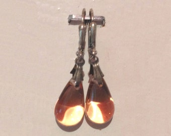 Glass Tear Drop Earrings - Rosey Peach
